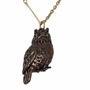 Unsigned Bronze & Gold Toned Owl Necklace